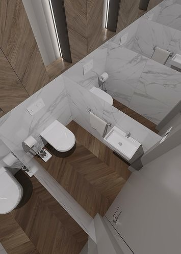 small toilet room with mirror on both sides of the wall 3d model obj mtl 3ds fbx skp 1