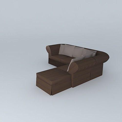3d model roma sofa bed maisons du monde cgtrader. Black Bedroom Furniture Sets. Home Design Ideas