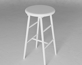 3D Stool wooden white painted