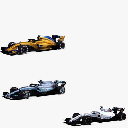 formula 1 2018 cars pack 4 3d model obj mtl 3ds fbx c4d ma mb stl 1