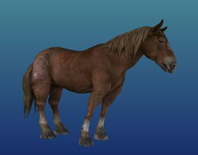 3D asset VR / AR ready Rigged Horse