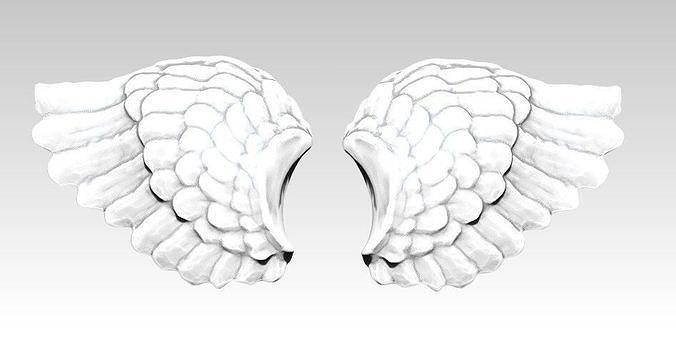 wings pair detailed 3d model obj mtl stl 1