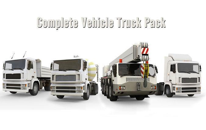 complete vehicle truck pack 3d model max obj mtl fbx c4d 1