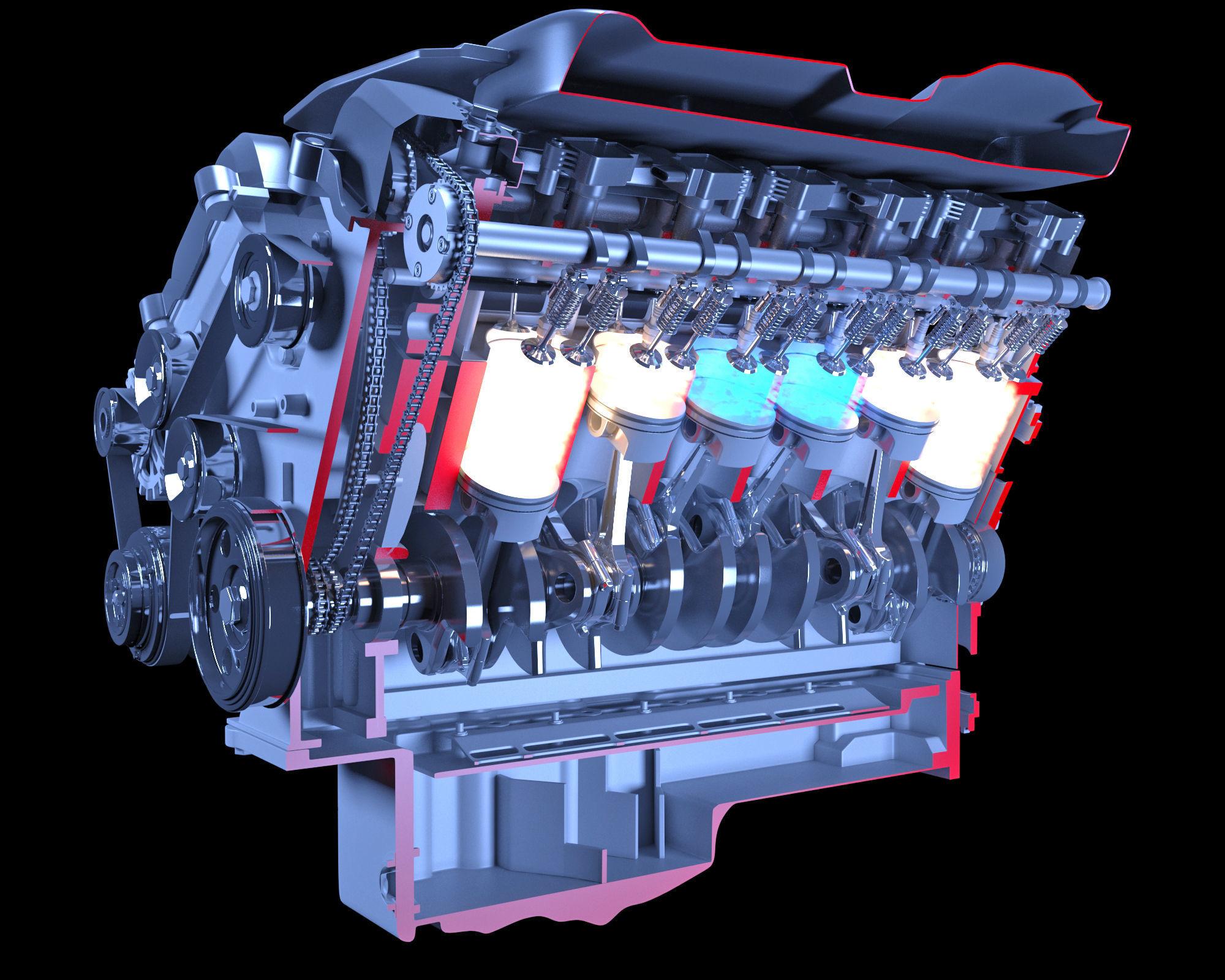 V12 Engine Sectioned Animation Ignition