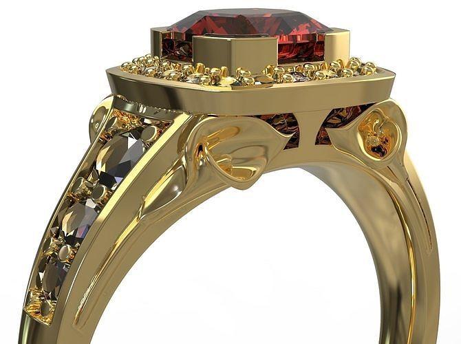 beautiful ring with flower 3d model obj mtl fbx stl 3dm 1