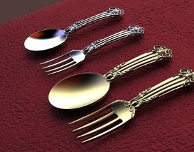 Fork and Spoon Thai Pattern 3D print model