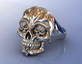 Skull Bones Silver Men Ring 3D printable model