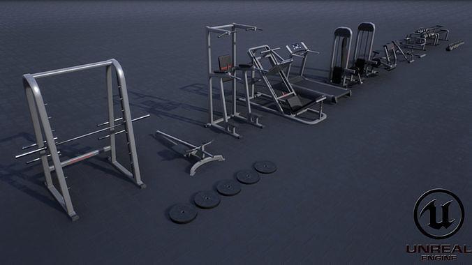 gym props pack 02 3d model obj mtl fbx ma mb unitypackage prefab mat uasset 1