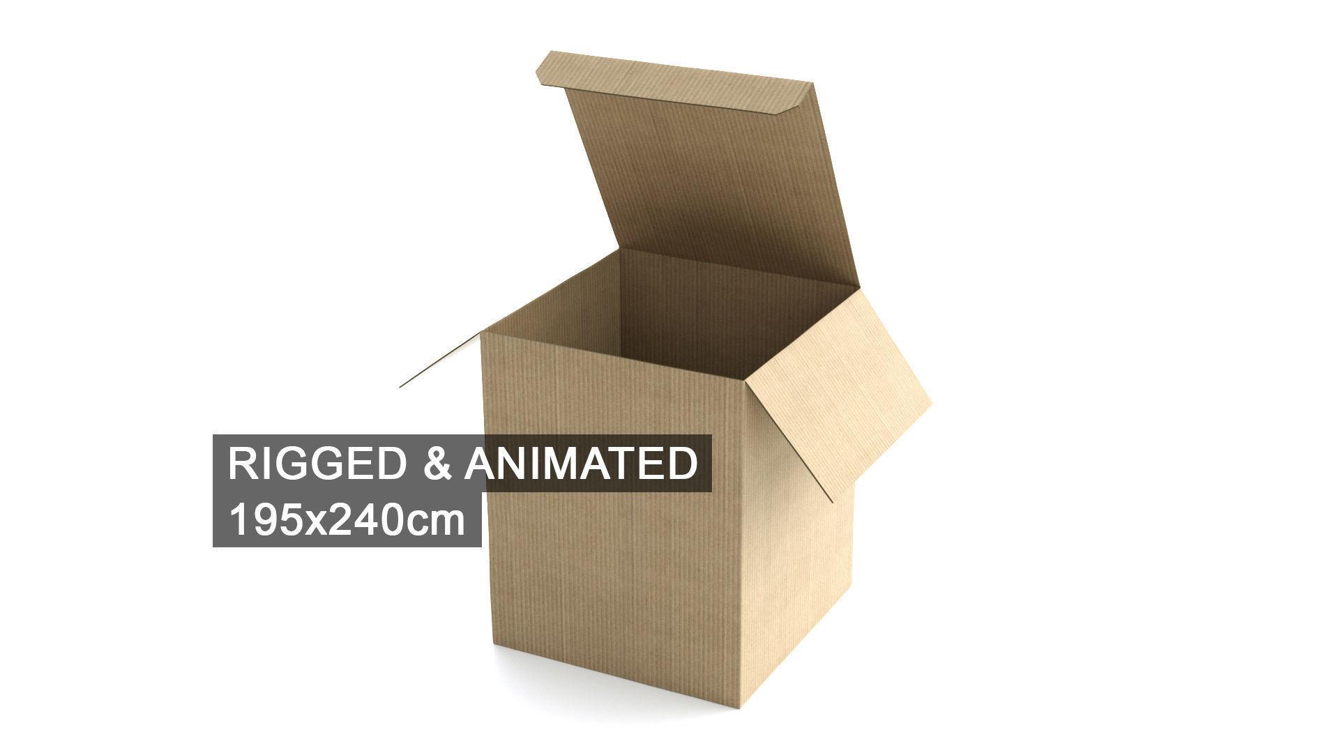 Cardboard Box 195x240cm - Rigged and Animated