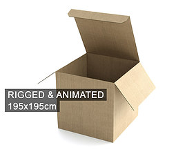 3D Cardboard Box 195x195cm - Rigged and Animated