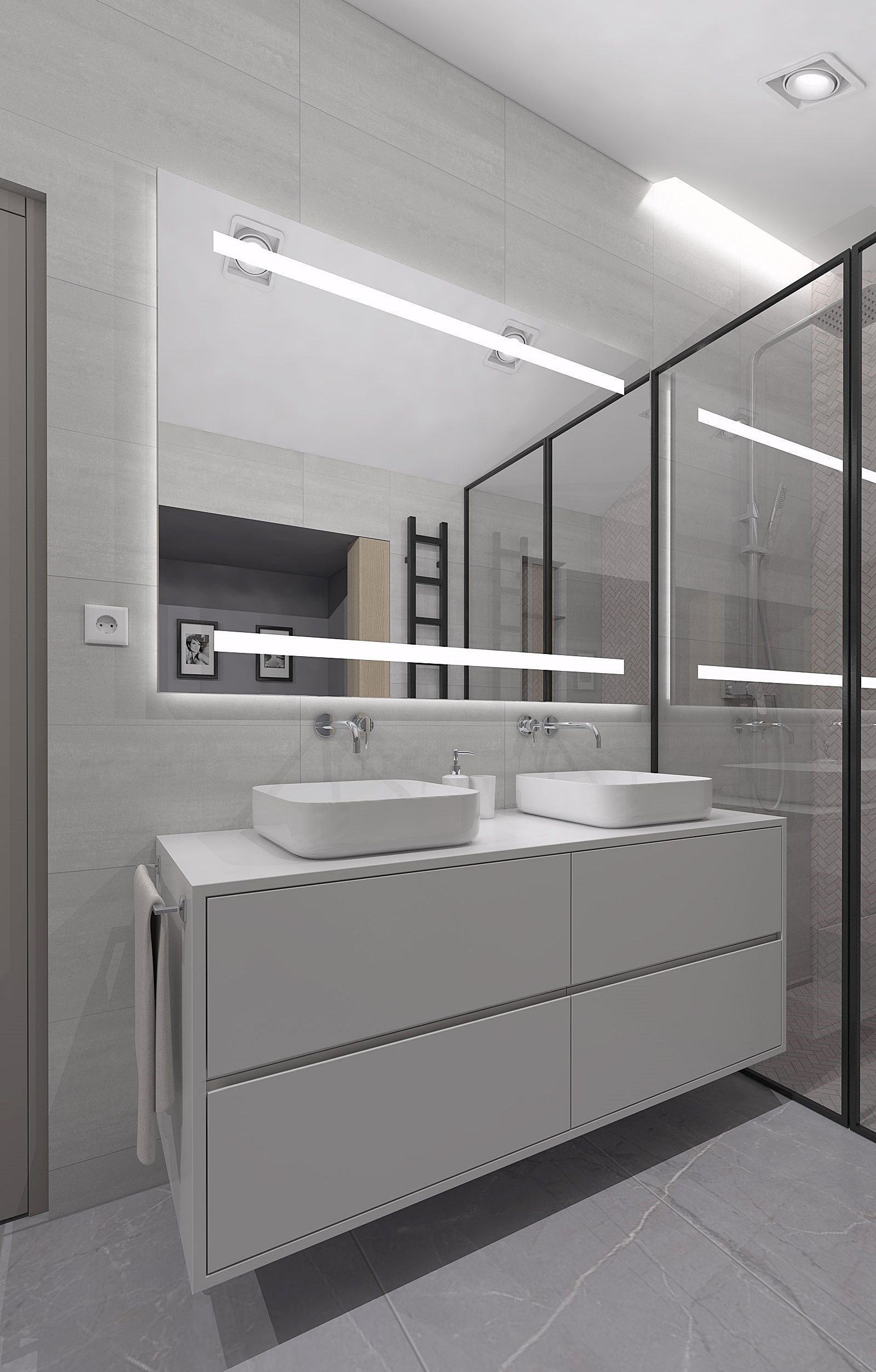 Amazing cozy shower room with pitched ceilings
