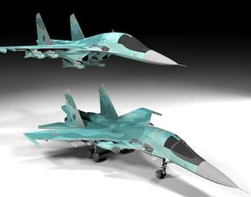 3D asset Su 34 Fullback Lowpoly
