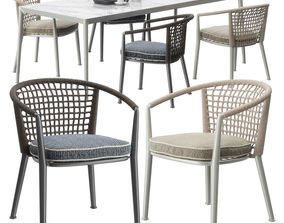 3D model B and B Italia Erica 19 chairs set