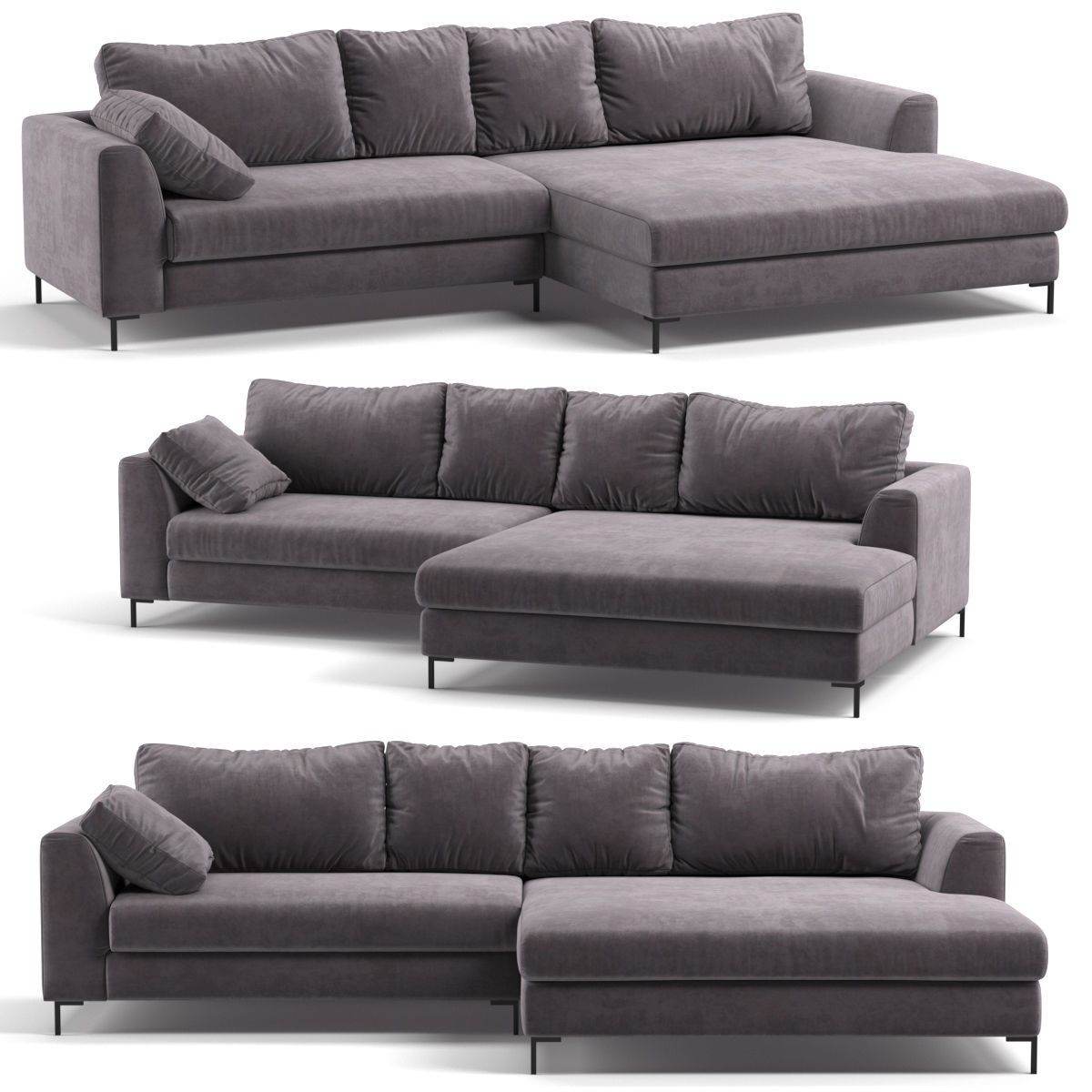 Incredible Kare Corner Sofa Black Gianna Velvet Grey Right 3D Model Caraccident5 Cool Chair Designs And Ideas Caraccident5Info