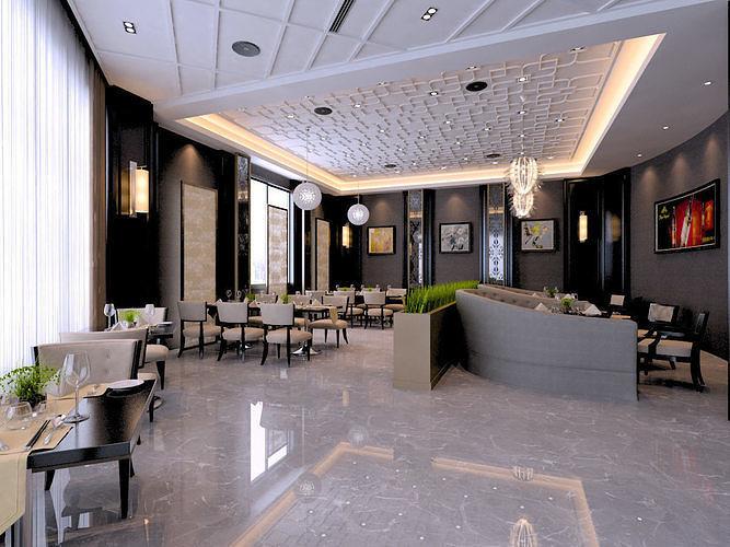 modern restaurant 3d model max 1