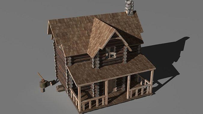 log cabin 3d model max 1