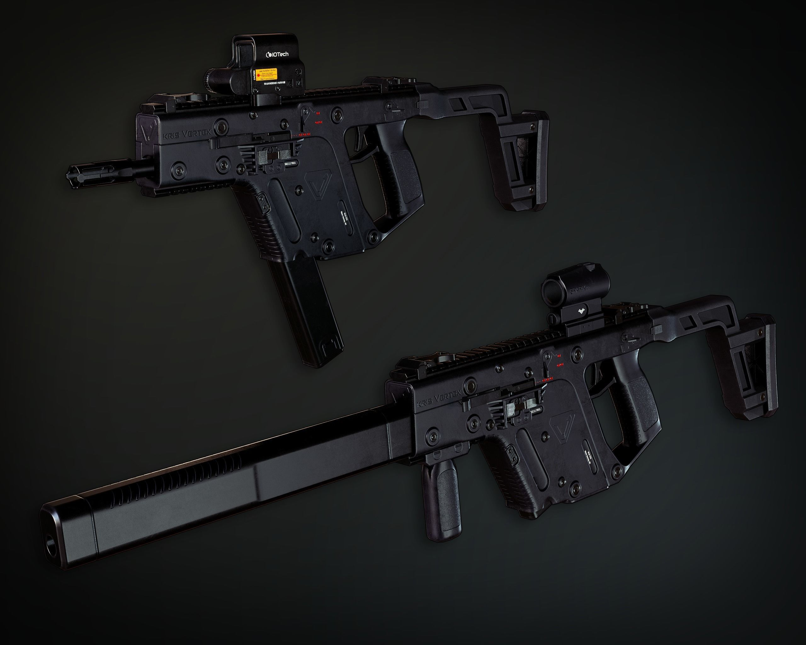 Lowpoly PBR Vector Submachine Gun