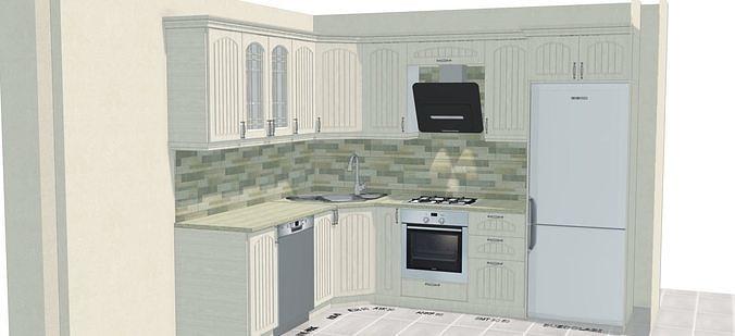 classic kitchen 3d model dwg 1