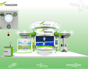 Booth Thaicom design size 10 X 10 m 100sqm 3D asset