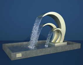 Abstract Metal Waves Fountain 3D