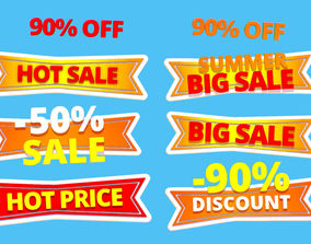 Animated Subdivision Sale Discount Text Logotype Sign 3D