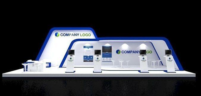 booth design 12x4  modern minimalis 3d model max 1