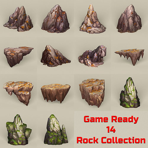 game ready stone rocks collection 3d model max obj mtl fbx c4d ma mb 1
