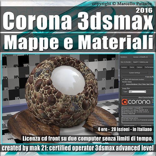 Corona 1 5 in 3dsmax 2016 Mappe e Materiali Vol 3 Cd Front