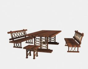 3D model Table chair bench