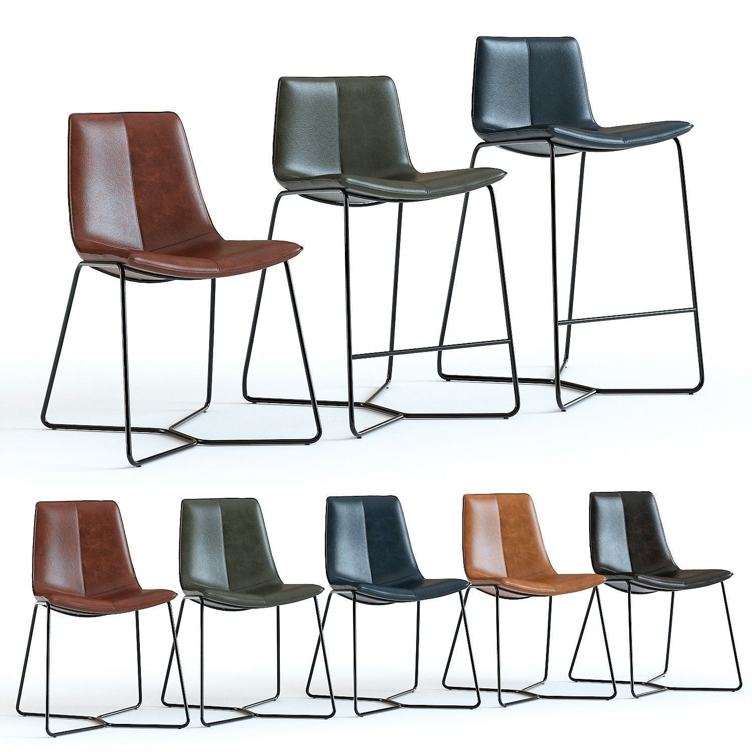 Remarkable West Elm Slope Leather Chairs 3D Model Gmtry Best Dining Table And Chair Ideas Images Gmtryco