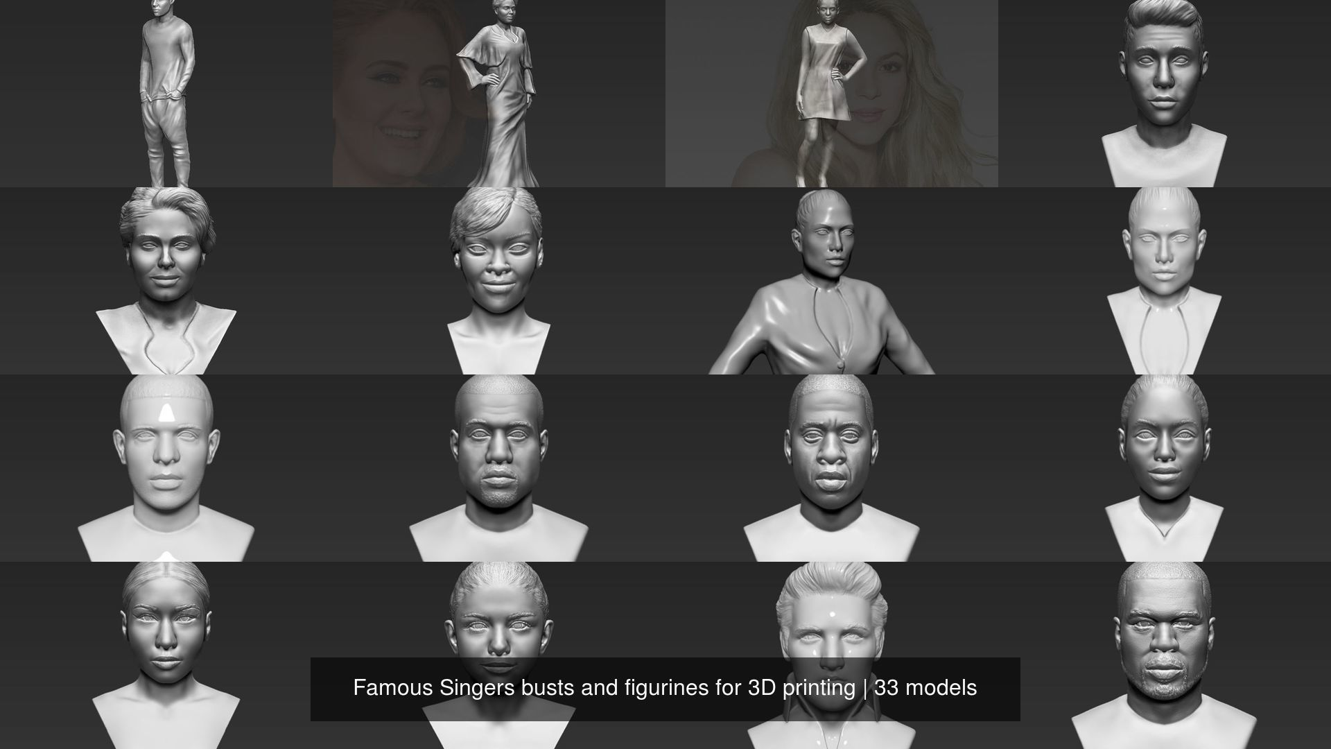 Famous Singers busts and figurines for 3D printing