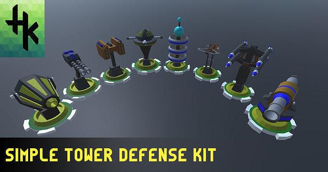 simple tower defense kit 3d model fbx unitypackage prefab 1