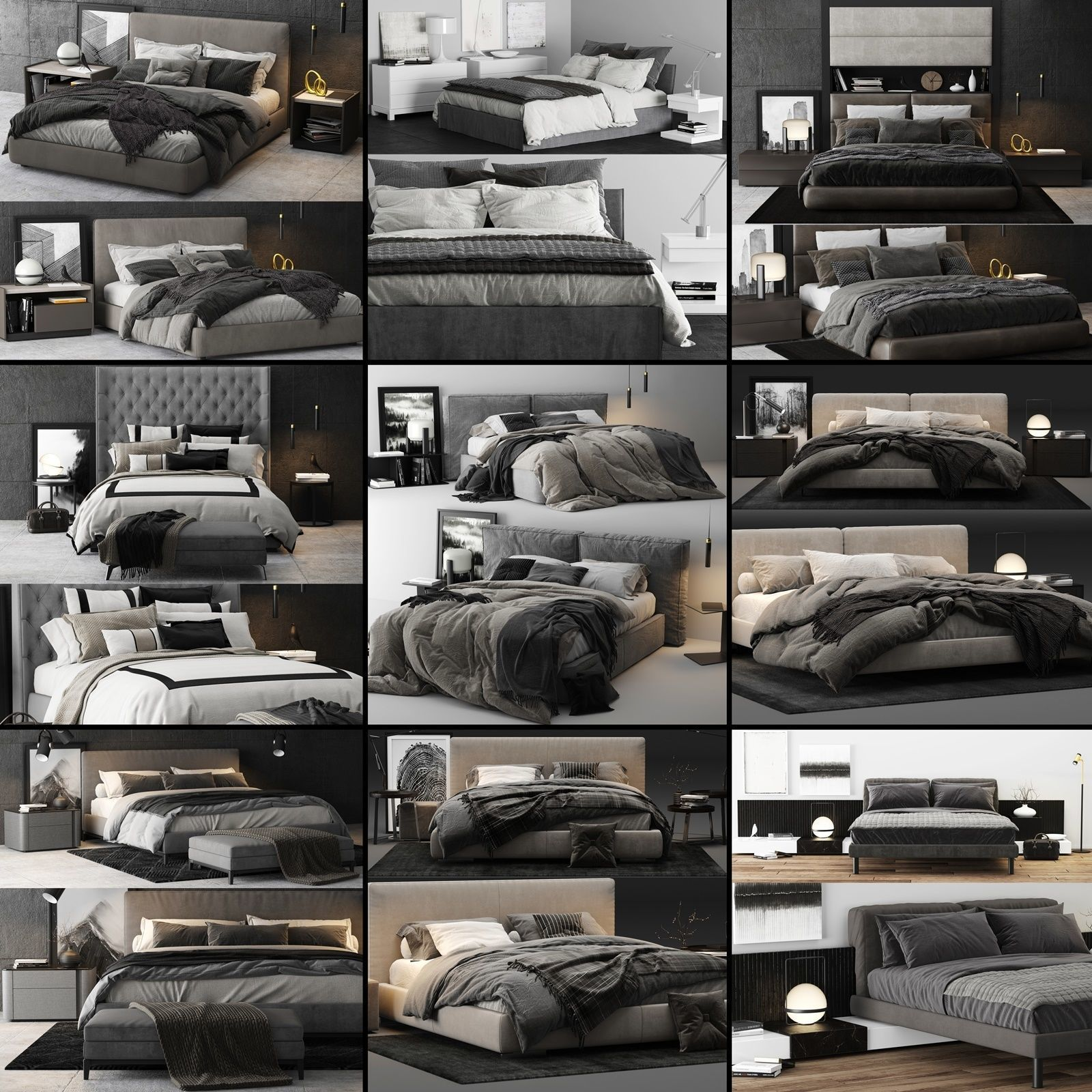 Bed Colection 02 - 10 Items 3D model