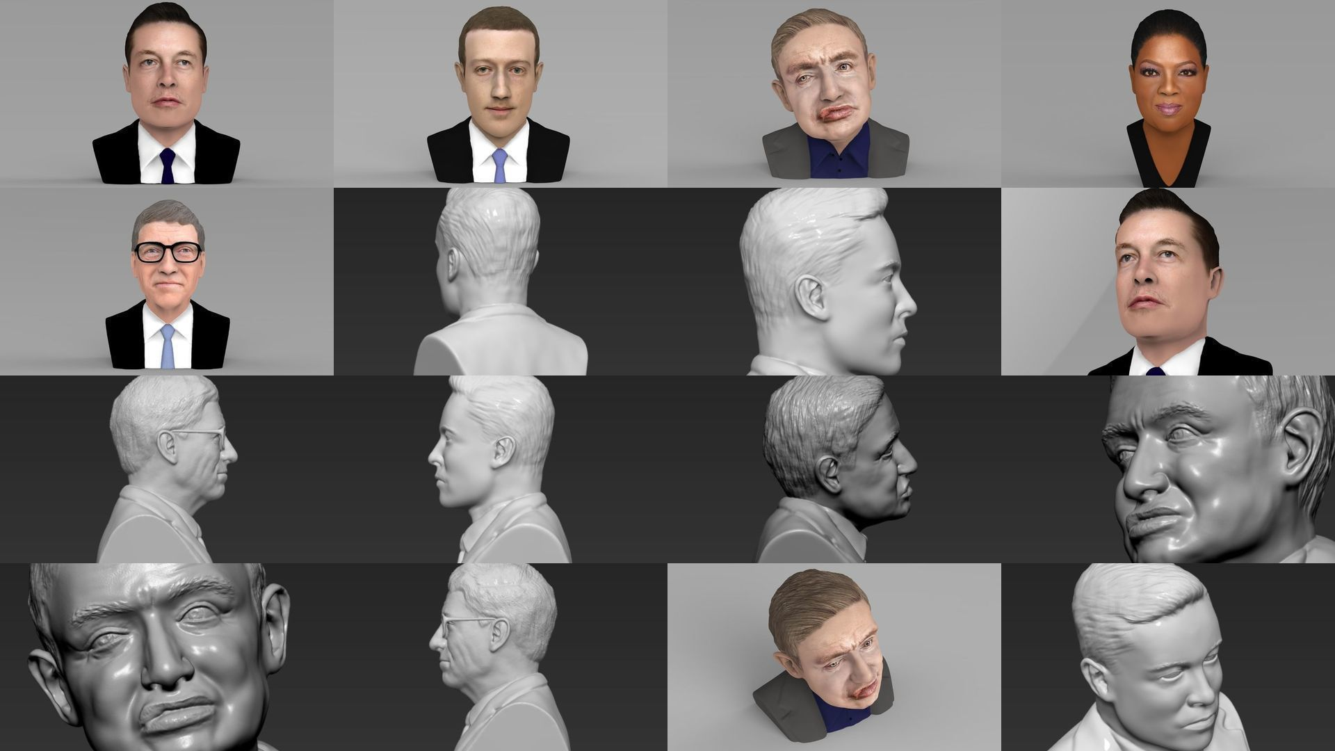 Most Influential People ready for full color 3D printing