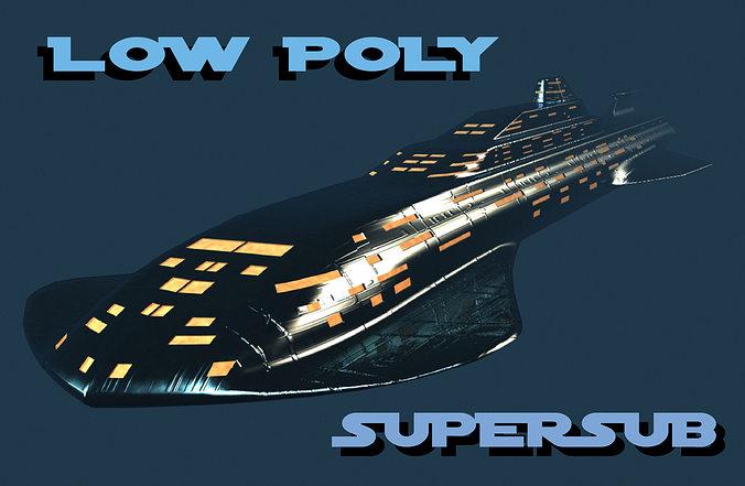 low poly supersub 3d model obj 3ds fbx dwg w3d mtl 1