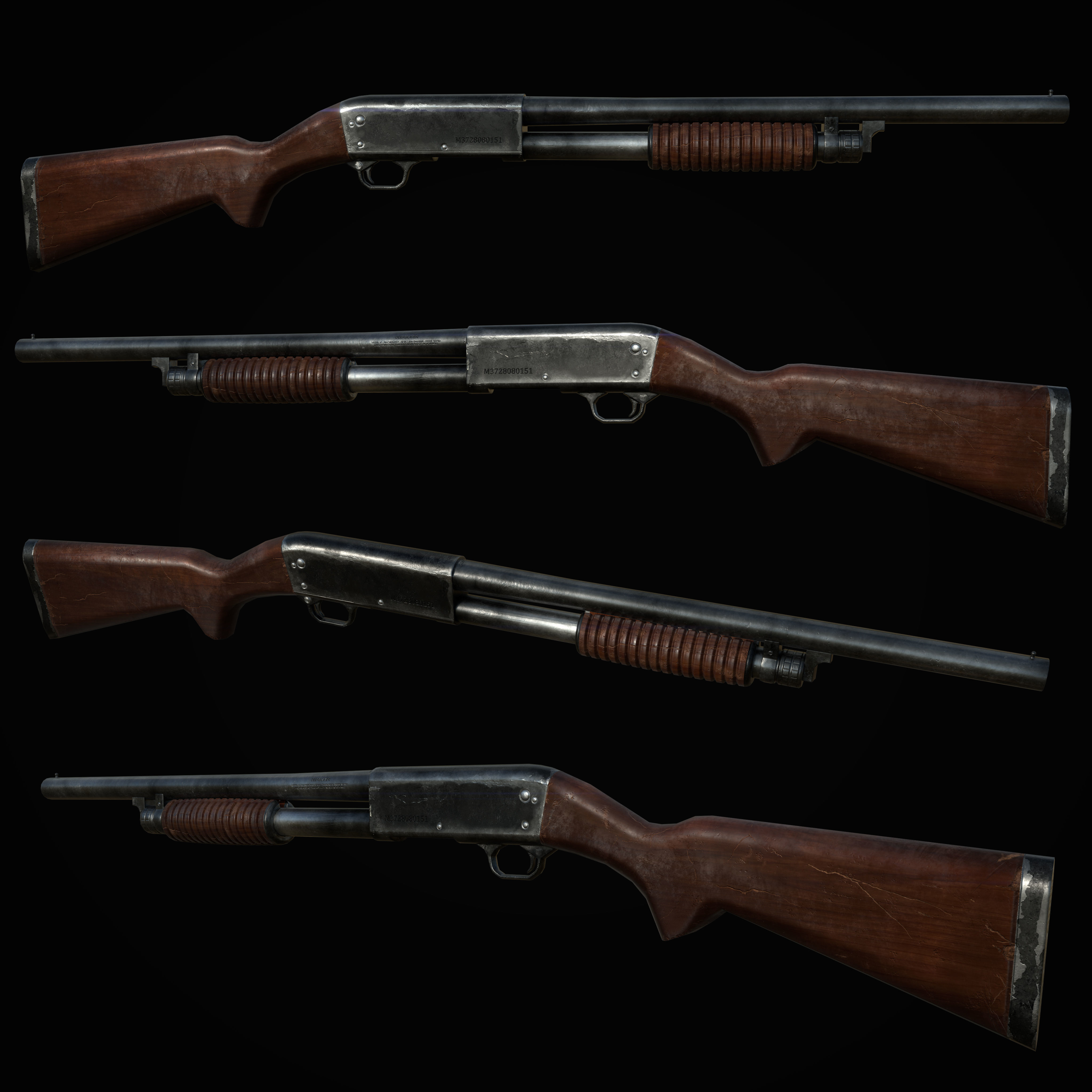 Ithaca 37 Shotgun M37 PBR MODEL UNITY UNREAL ENGINE | 3D model