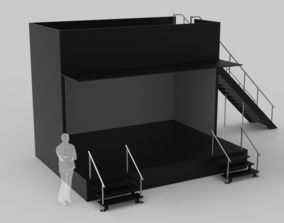 3D model Two Level Stage Opened