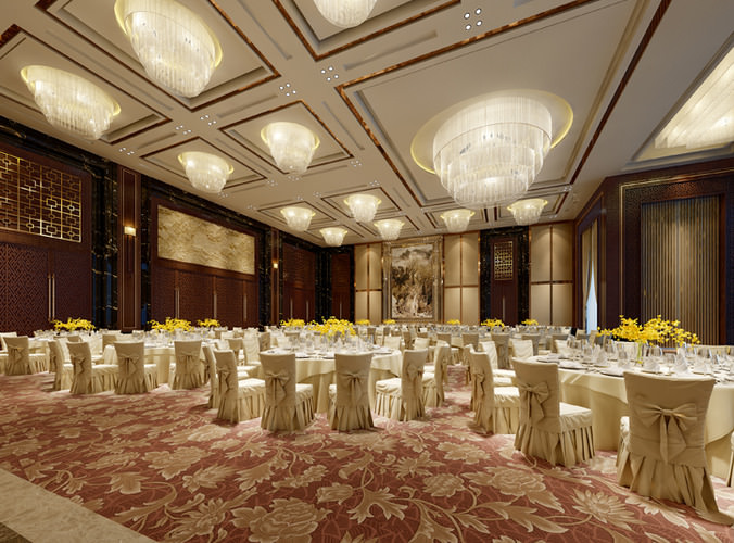 Luxury Banquet Hall 3d Model Cgtrader