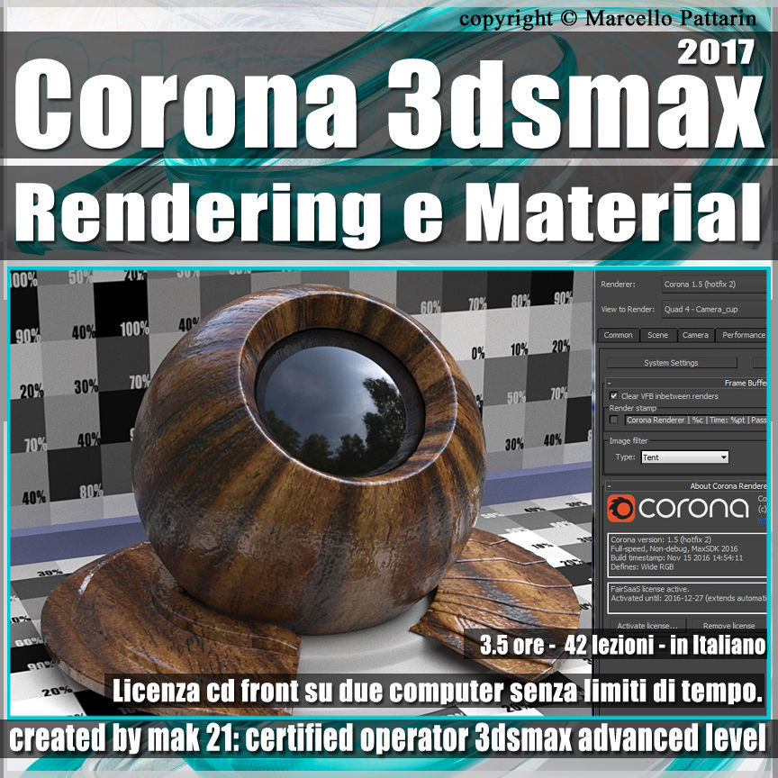 Corona 1 5 in 3dsmax 2017 Rendering e Material Vol 2 Cd Front