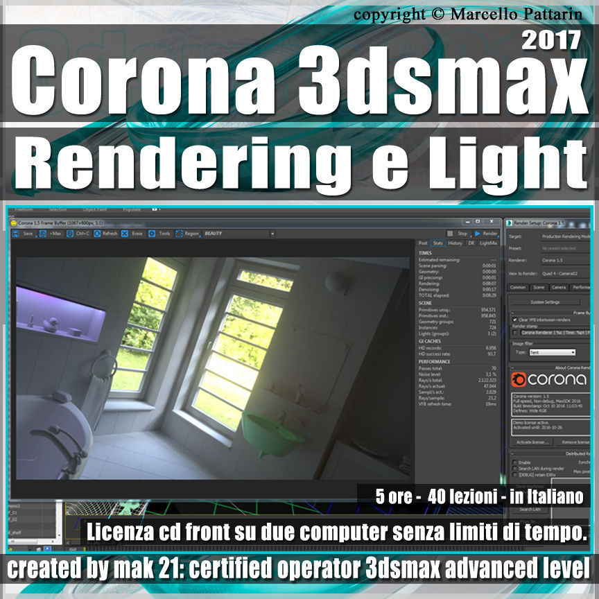 Corona 1 5 in 3dsmax 2017 Rendering e Light Vol 1 Cd Front