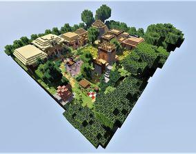 3D asset game-ready Medieval Village Minecraft