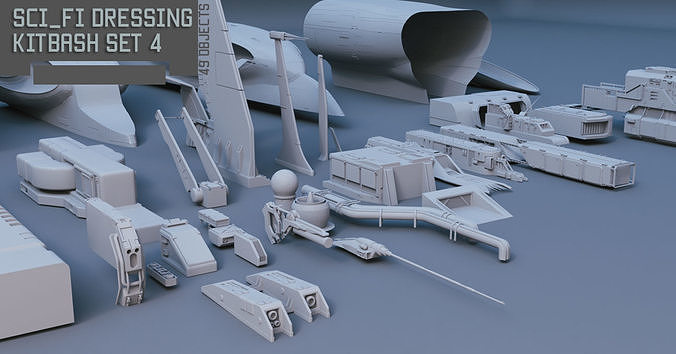 scifi dressing kitbash set 4 3d model max obj mtl fbx 1