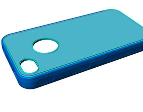 iphone4 and 4s blue transparent mold case 3D asset