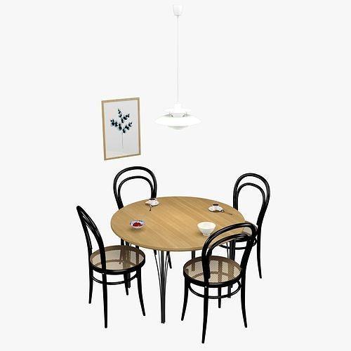 dinner table 3d model max obj mtl 3ds fbx 1