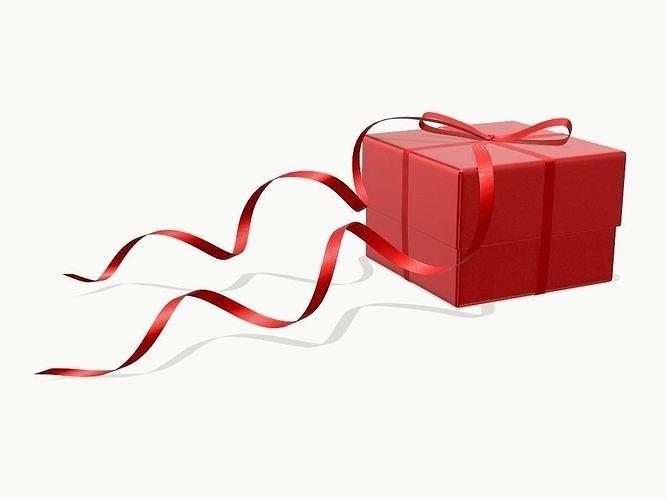 gift box with red bow ribbon 3d model max obj mtl fbx mdl 1