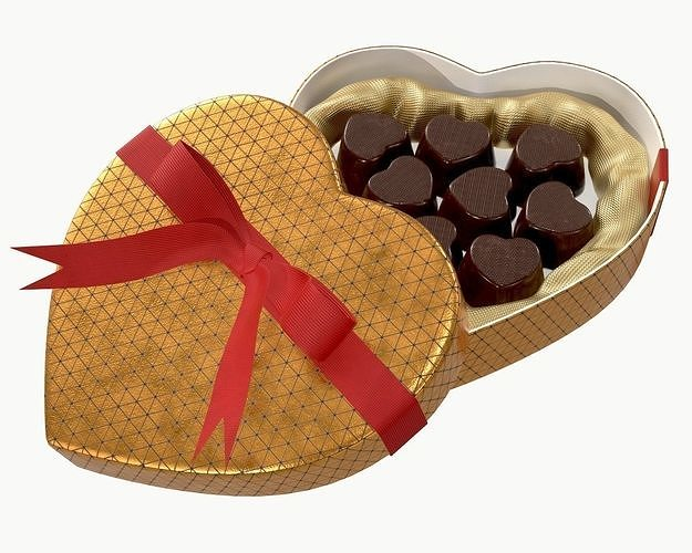 heart shaped box with chocolate and ribbon tied round with bow 3d model max obj mtl fbx mdl 1