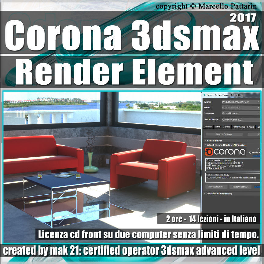 Corona 1 6 in 3dsmax 2017 Render Element Vol 5 Cd Front