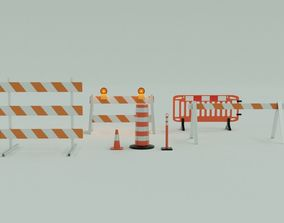 3D Traffic control road work and barricades collection