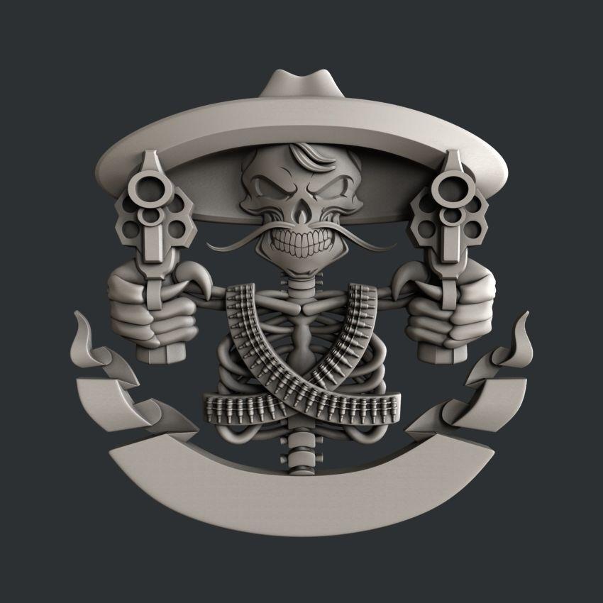 3d STL models for CNC router skull guns | 3D model