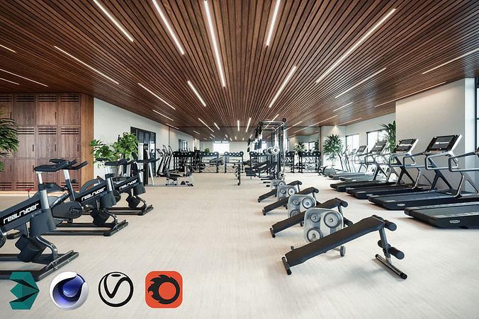 gym room for cinema 4d and 3dsmax 3d model max obj mtl 3ds fbx c4d 1
